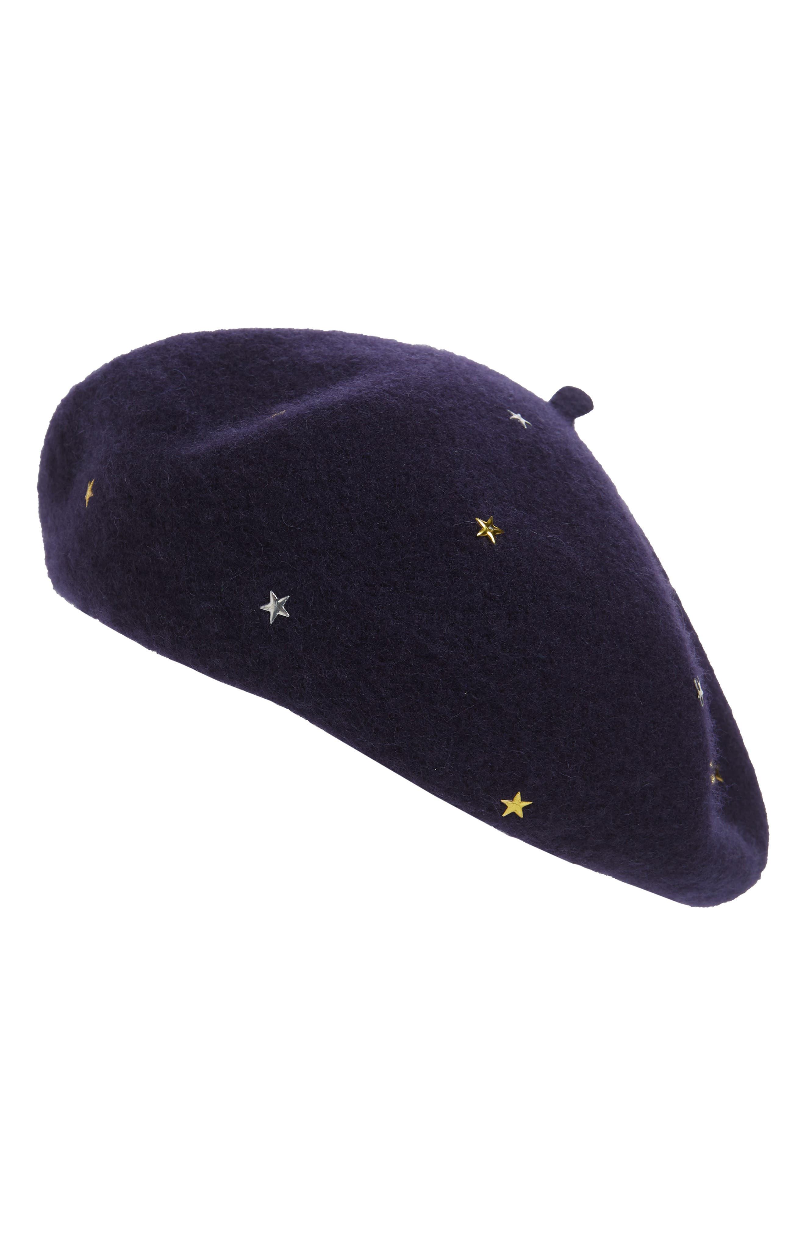 Star Stud Wool Blend Beret, Main, color, NAVY