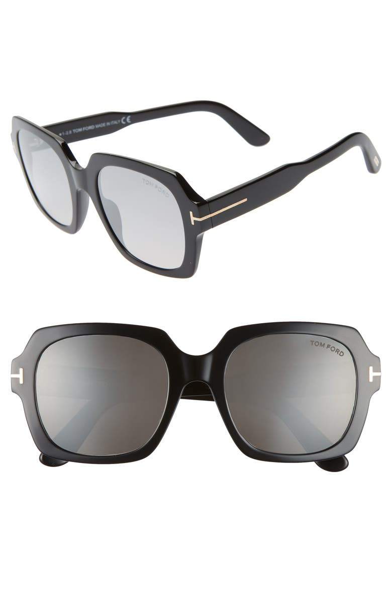 TOM FORD Autumn 53mm Square Sunglasses, Main, color, BLACK/ SMOKE/ SILVER FLASH