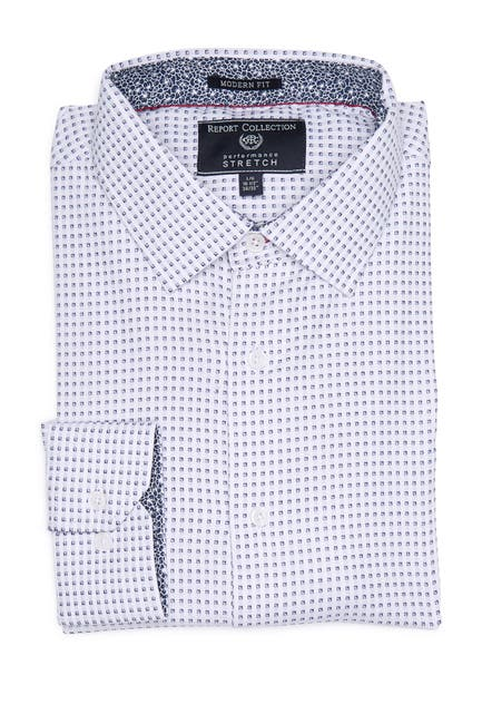 Image of Report Collection Modern Fit Printed Stretch Dress Shirt