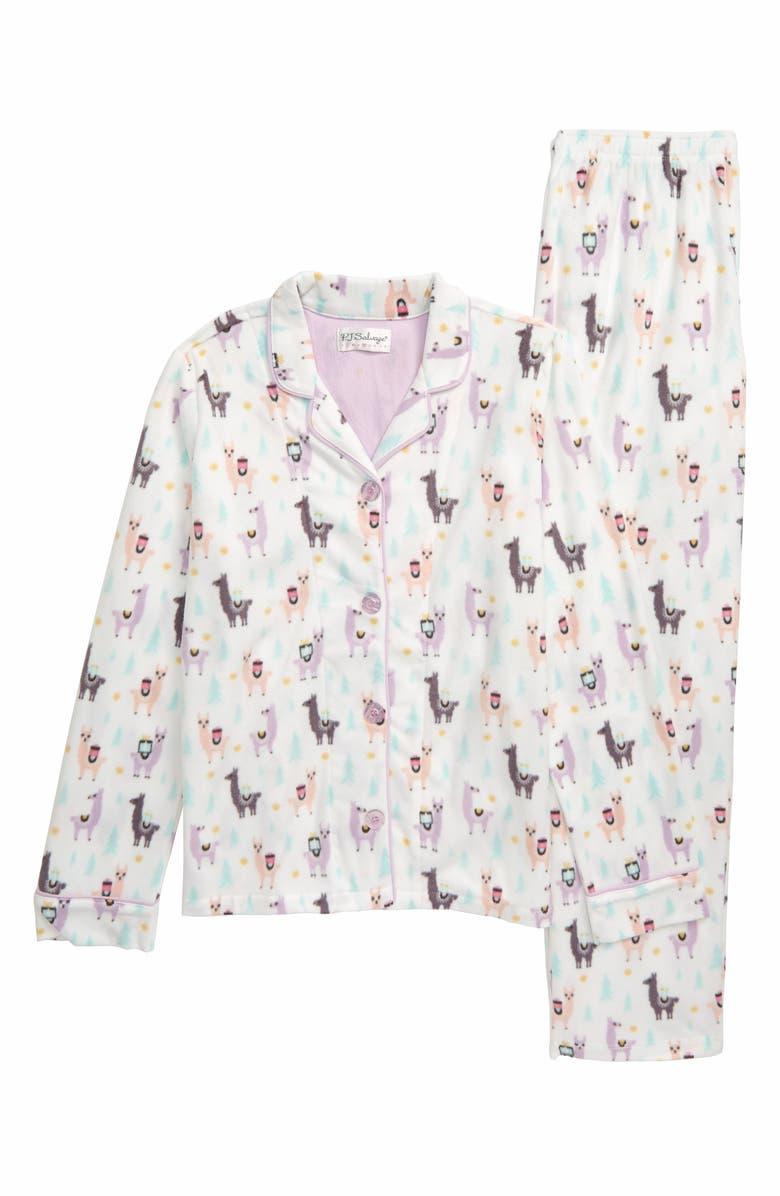 PJ SALVAGE Fa La La Lounge Two-Piece Pajamas, Main, color, IVORY