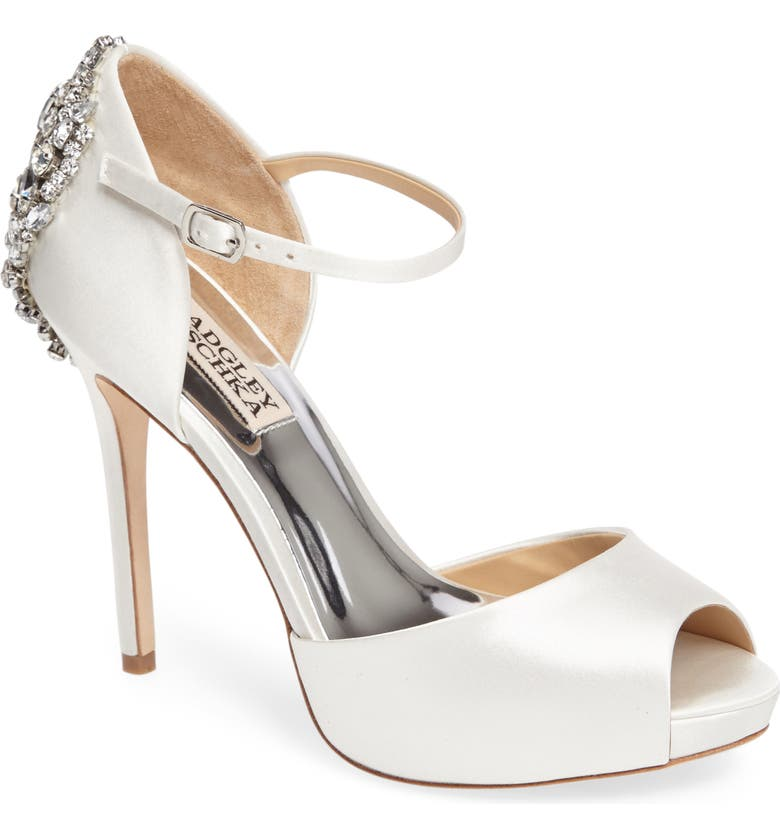 BADGLEY MISCHKA COLLECTION Badgley Mischka 'Dawn' Crystal Back d'Orsay Pump, Main, color, WHITE SATIN