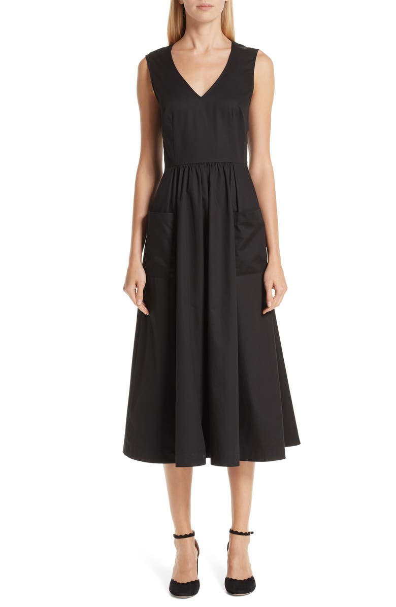 CO Cotton Sateen A-Line Dress, Main, color, BLACK