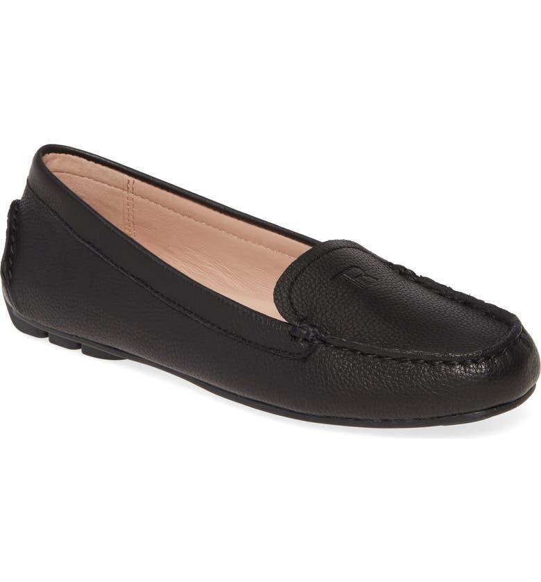 TARYN ROSE Karen Water Resistant Driving Loafer, Main, color, BLACK LEATHER