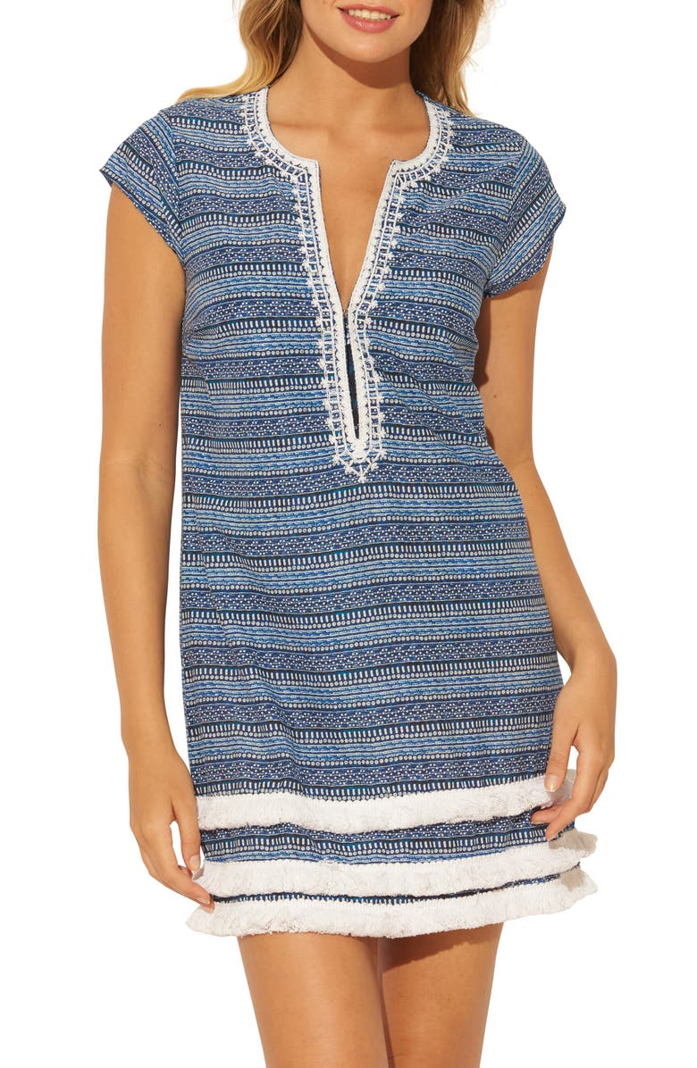 BLEU BY ROD BEATTIE Take a Dip Plunge Neck Fringe Cover-Up Dress, Main, color, NAVY