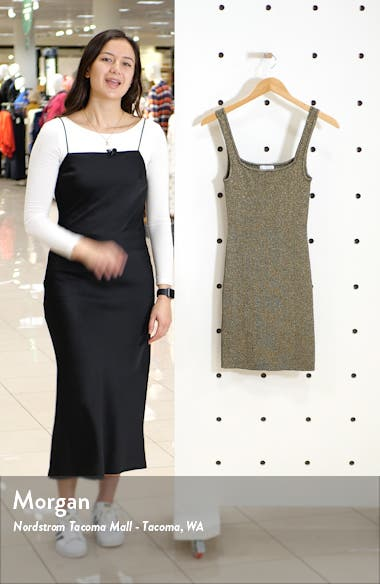 Sleeveless Metallic Sweater Dress, sales video thumbnail