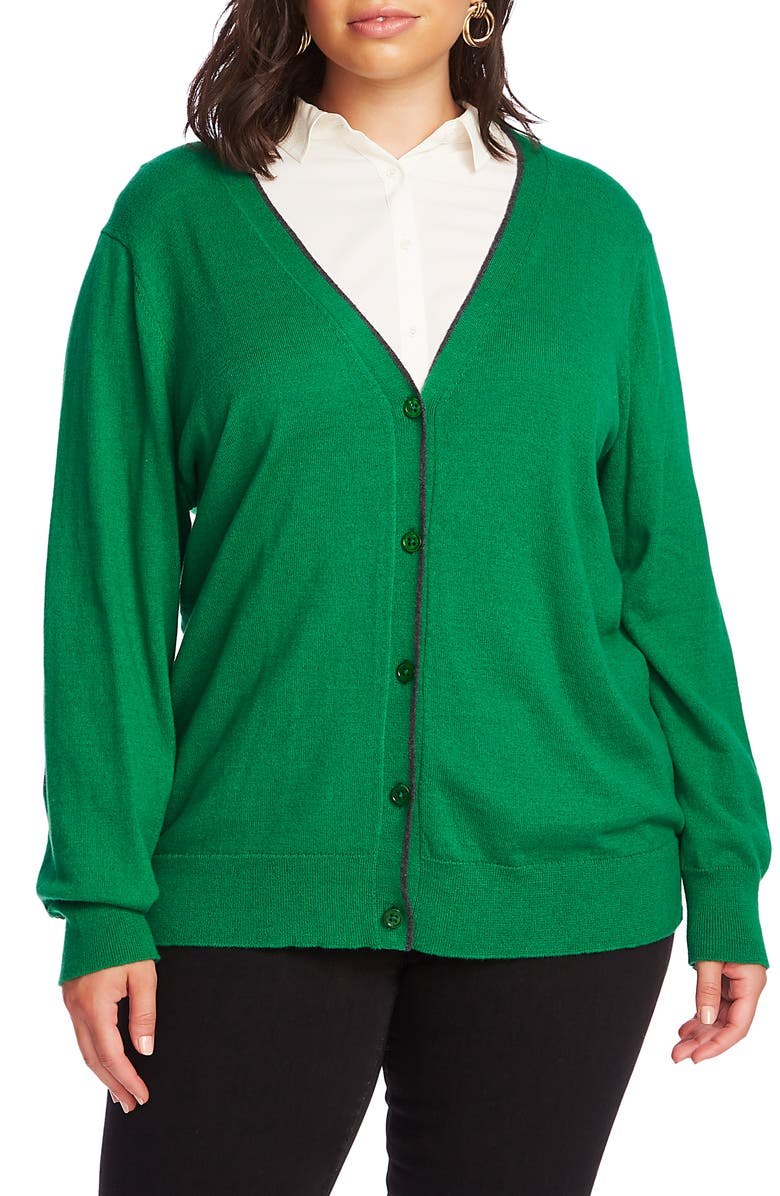 COURT & ROWE Elbow Detail Tipped Cardigan, Main, color, LUSH GREEN