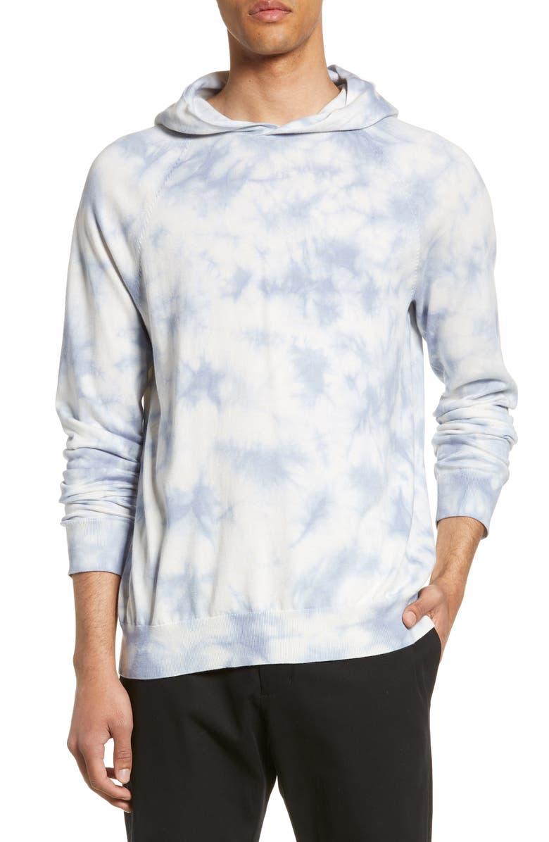 VINCE Slim Fit Tie Dye Pullover Hoodie, Main, color, GENTLE BLUE TIE DYE
