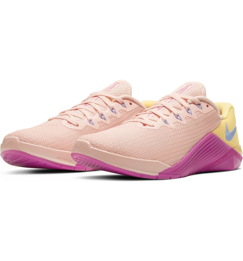 NIKE Metcon 5 Training Shoe, Main, color, WASHED CORAL/ TOPAZ GOLD/ PINK