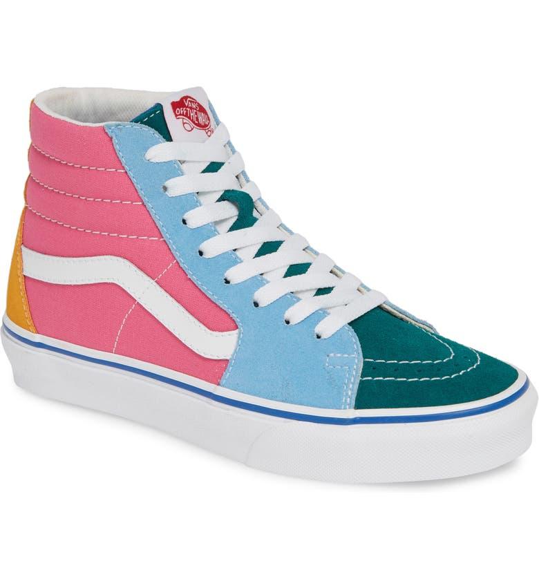 VANS Sk8-Hi Colorblock Sneaker, Main, color, SUEDE/ CANVAS MULTI/ BRIGHT