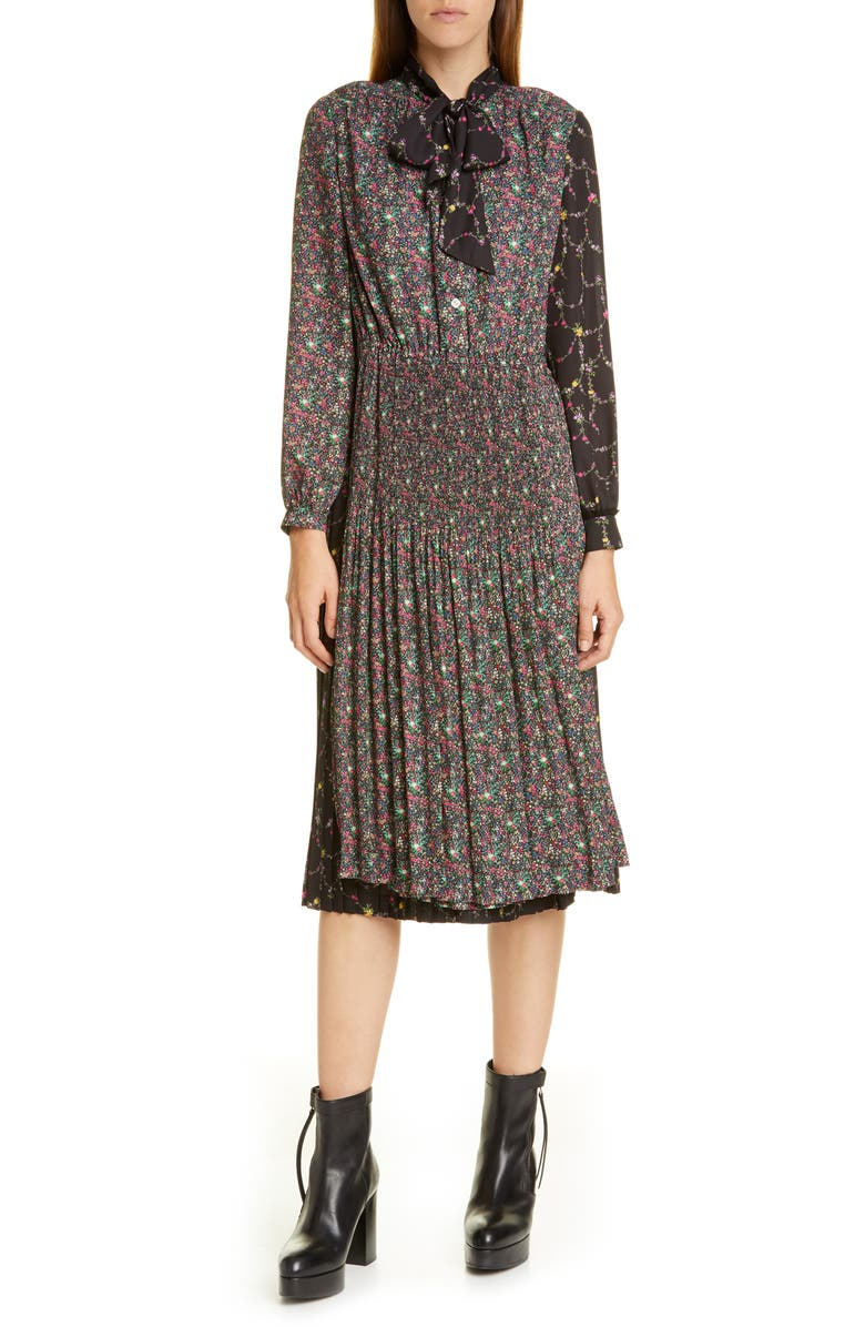 JUNYA WATANABE Mixed Floral Long Sleeve Midi Dress, Main, color, BLACK / RED/ GREEN/ PINK