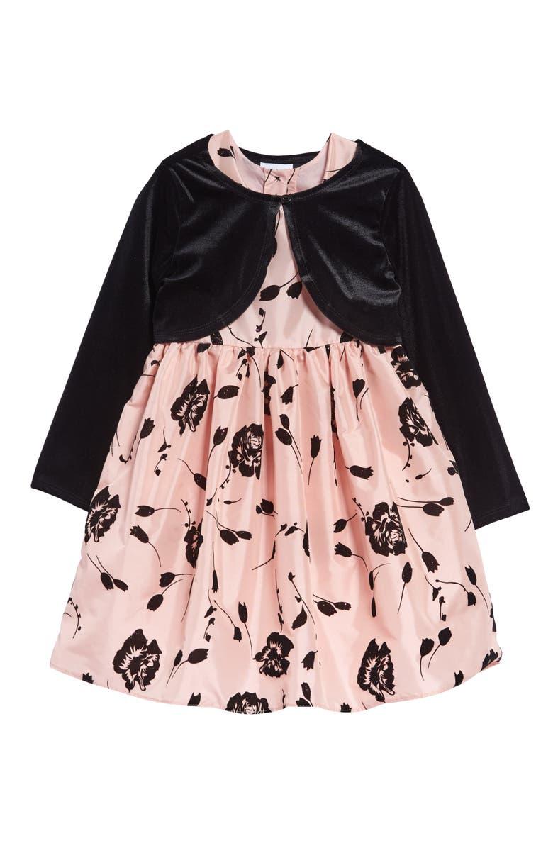 FRAIS Glitter Flocked Fit & Flare Dress & Cardigan Set, Main, color, BLACK