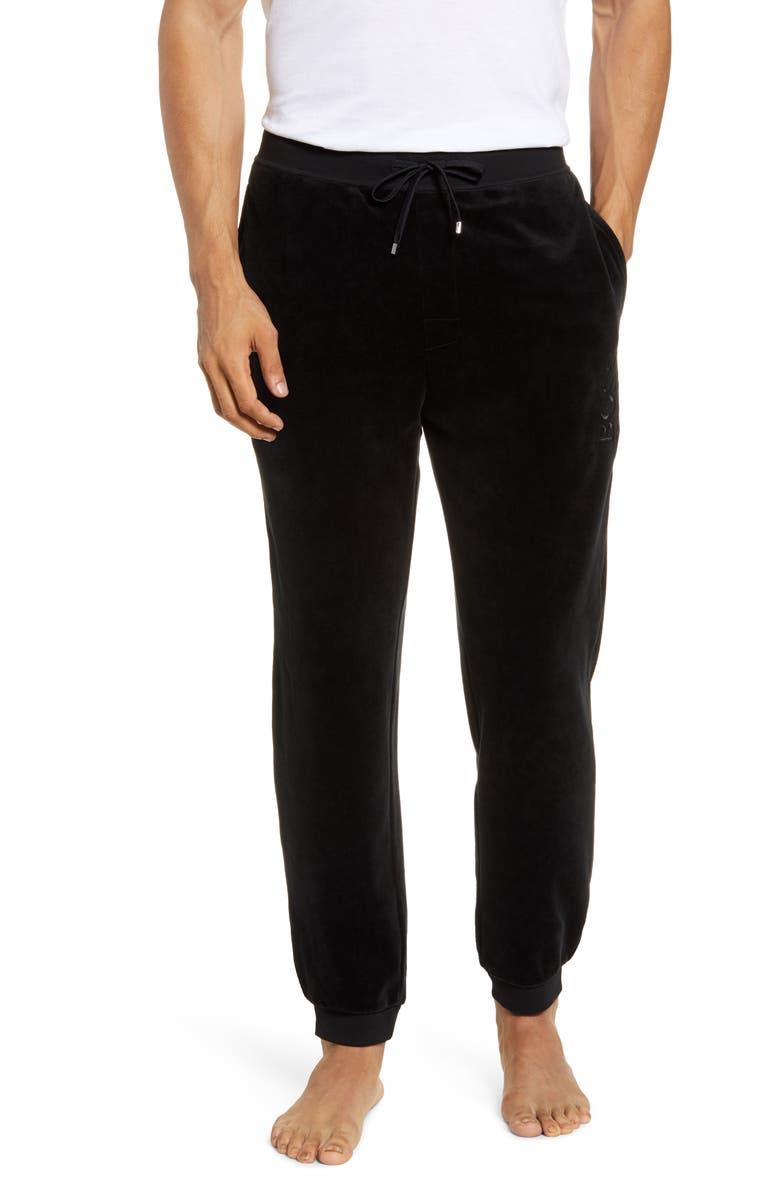 BOSS Velour Jogger Pants, Main, color, 001