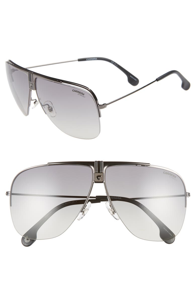 CARRERA EYEWEAR 64mm Metal Aviator Sunglasses, Main, color, DARK RUTHENIUM/ BLACK
