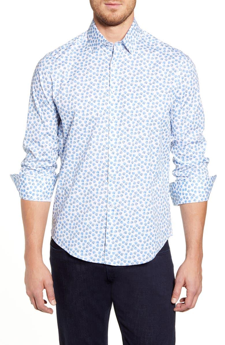 STONE ROSE Regular Fit Floral Button-Up Sport Shirt, Main, color, DARK BEIGE
