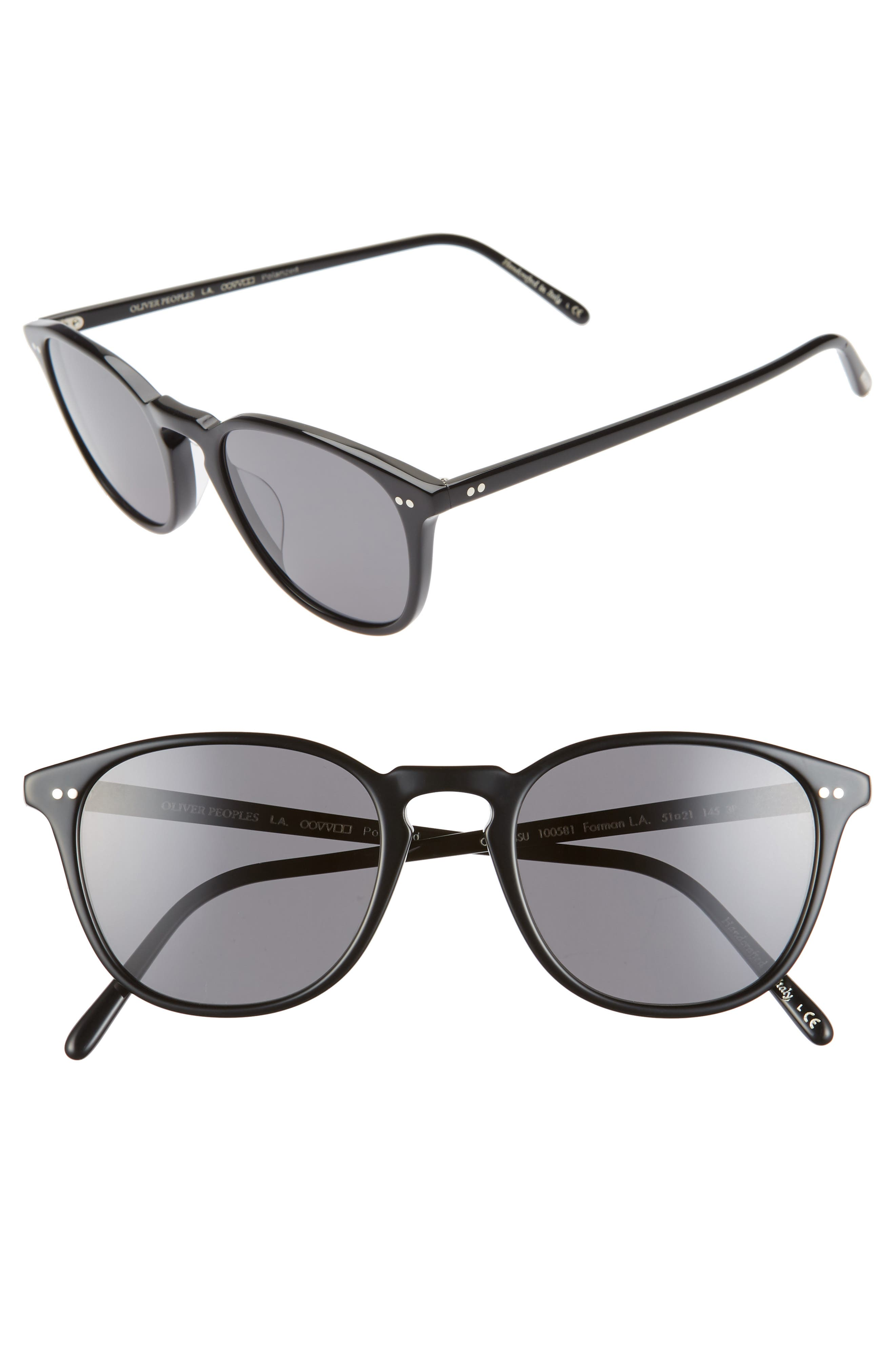 Oliver Peoples Forman L.a. 51Mm Polarized Round Sunglasses - Black/ Grey