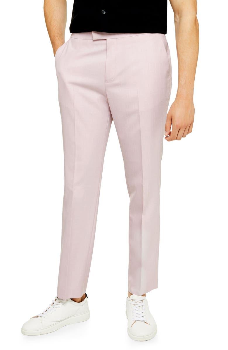 TOPMAN Verde Slim Fit Adjustable Dress Pants, Main, color, PINK