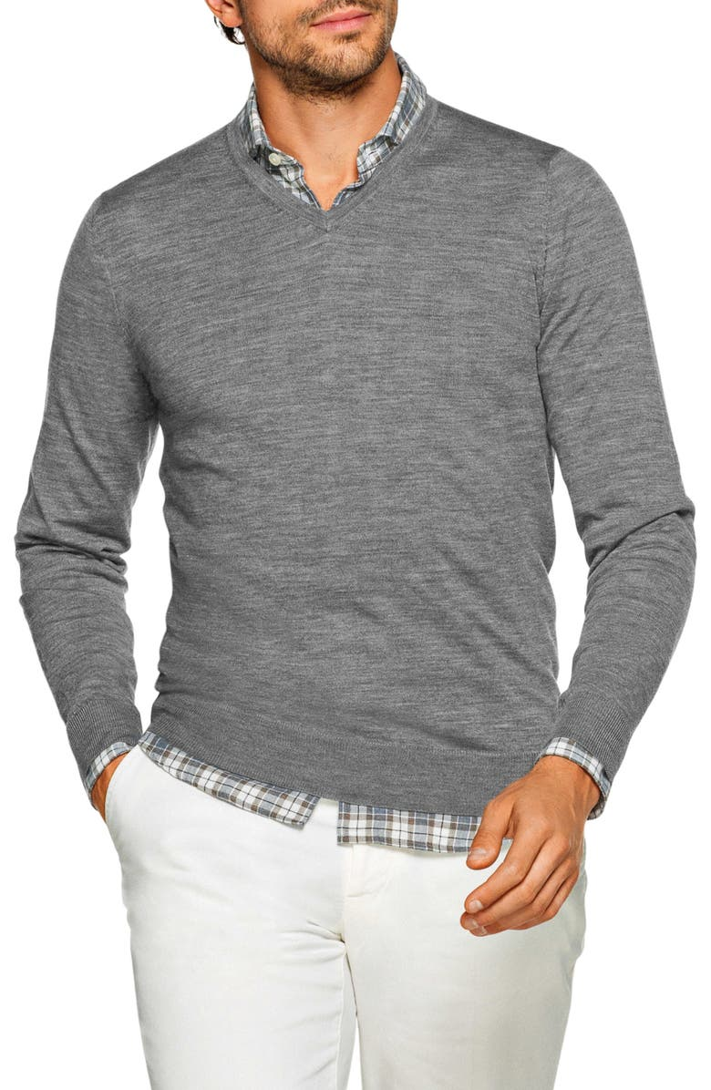 SUITSUPPLY Slim Fit V-Neck Merino Wool Sweater, Main, color, GREY