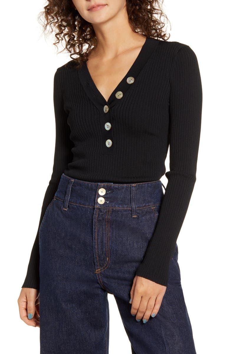 NOBODY DENIM Ribbed Long Sleeve Organic Cotton Top, Main, color, BLACK