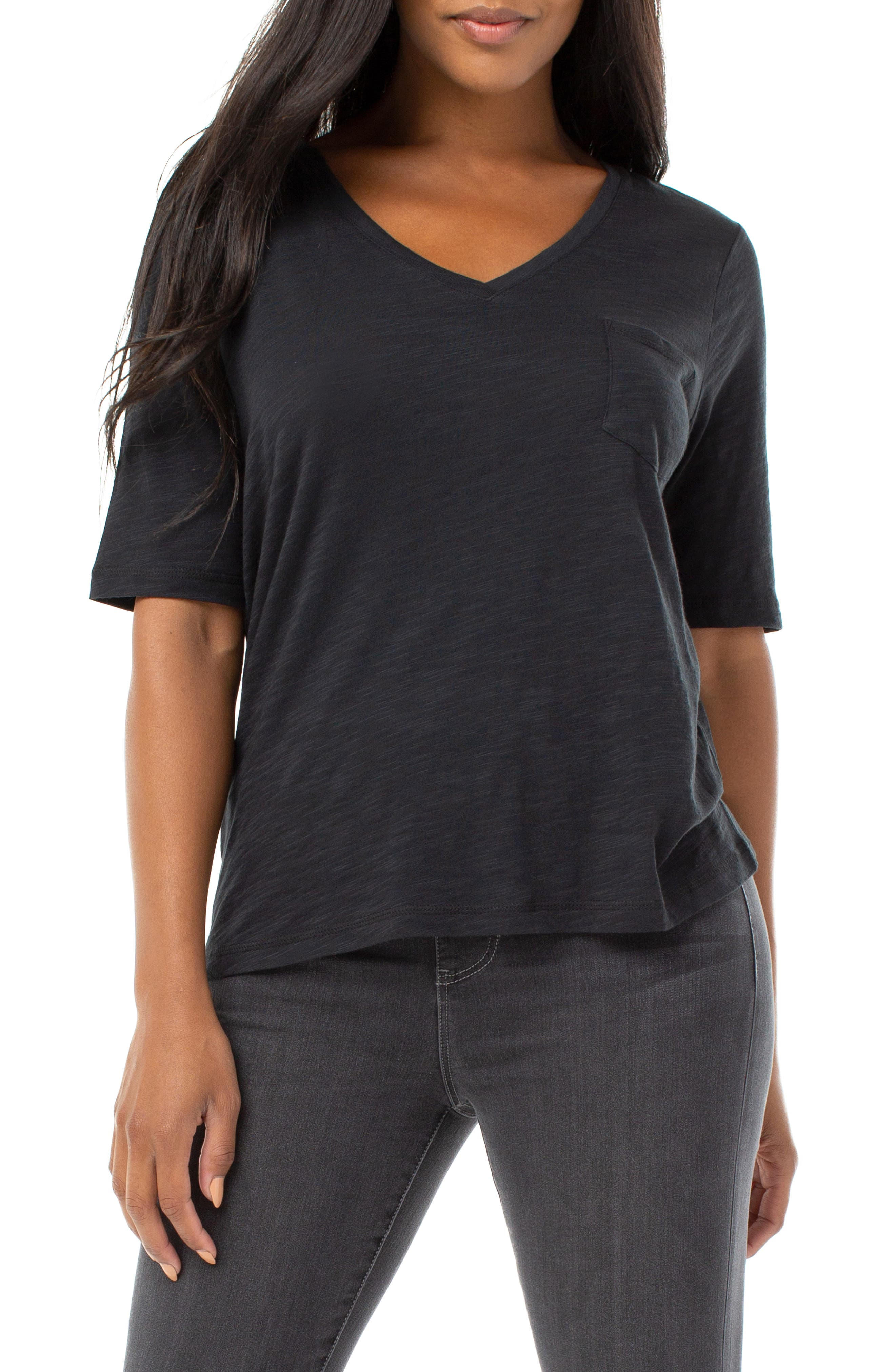 Image of Liverpool Jeans Co 1/2 Sleeve V-Neck Tee with Pocket
