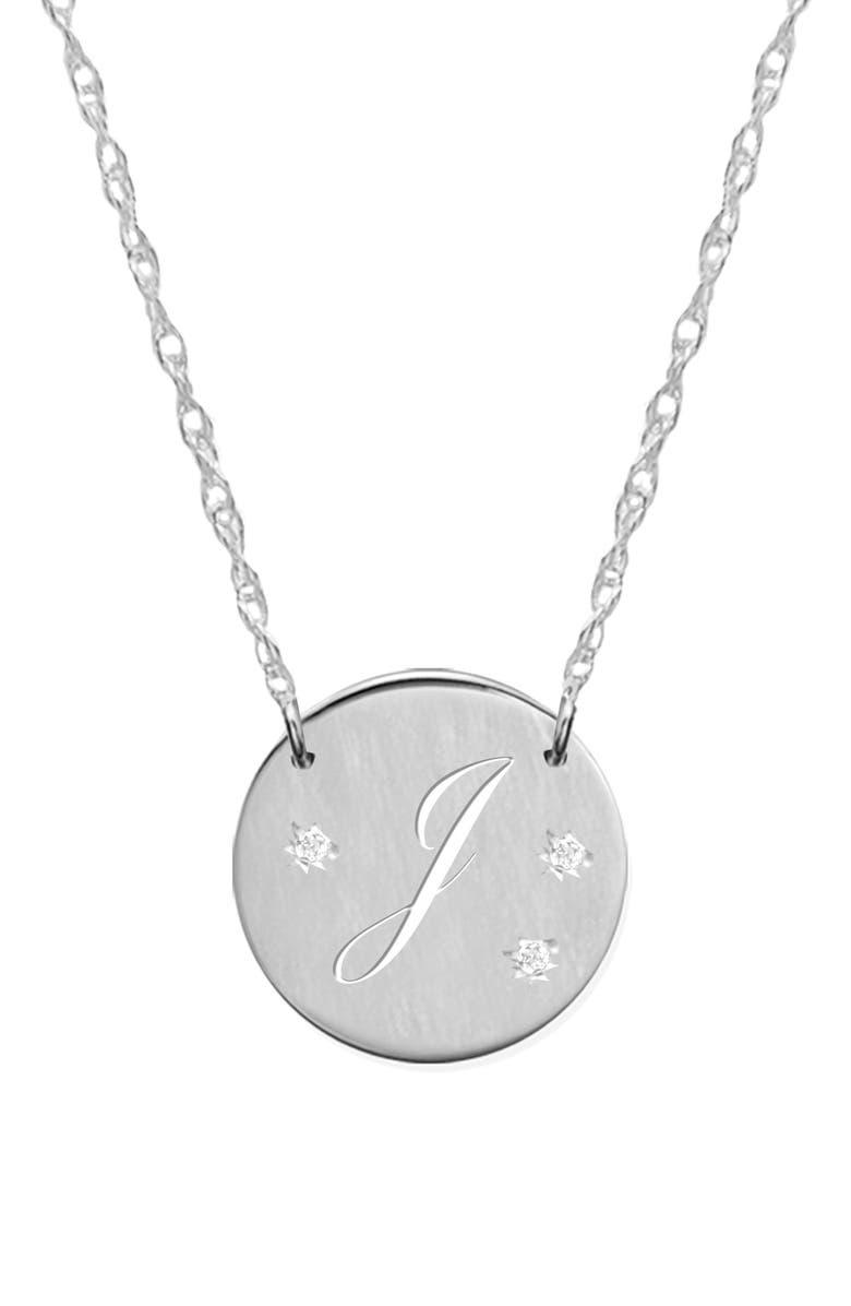 JANE BASCH DESIGNS Pierced Initial Diamond Pendant Necklace, Main, color, SILVER- J