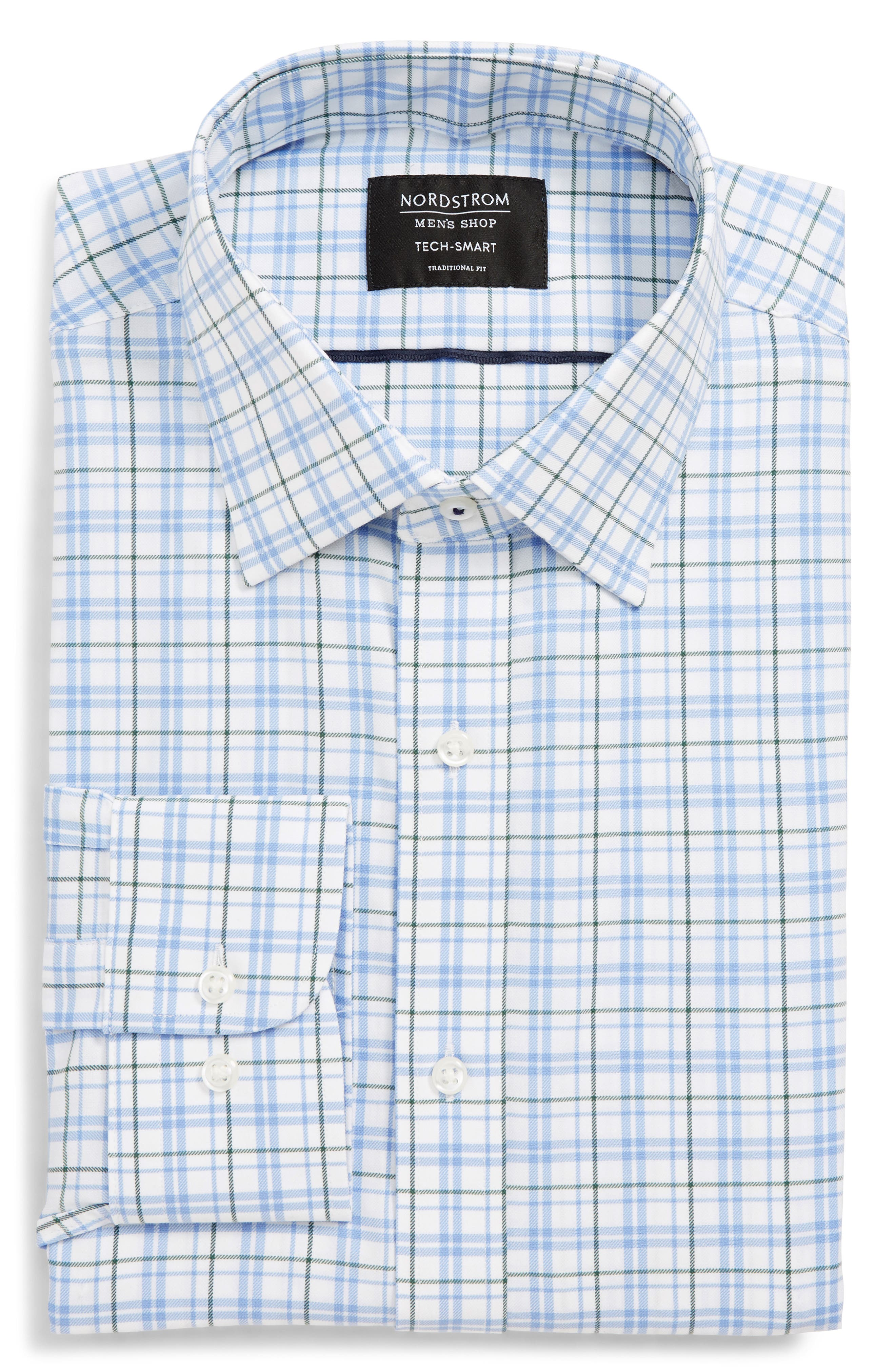 Tech-Smart Traditional Fit Check Stretch Dress Shirt, Main, color, 301