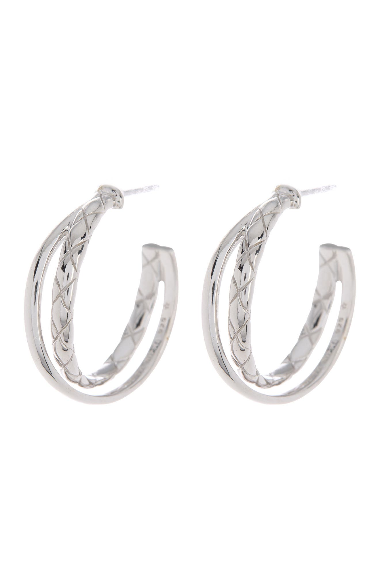 """Image of Judith Ripka Sterling Silver Braided  1"""" Hoop Earrings"""