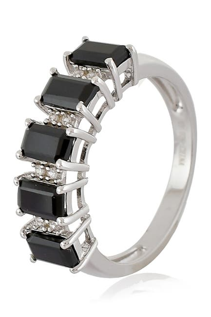 Image of Forever Creations USA Inc. Sterling Silver Black Spinel & Natural Zircon Ring