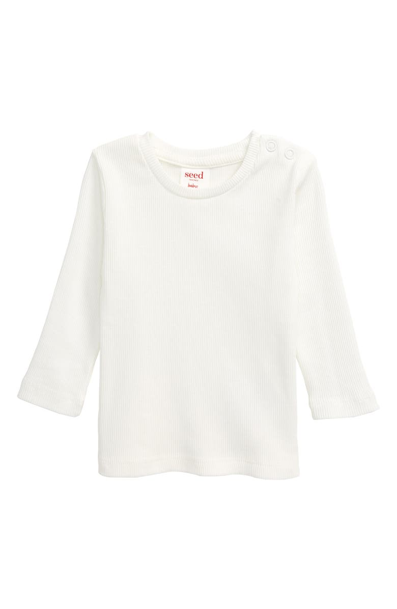 SEED HERITAGE Long Sleeve Rib Shirt, Main, color, 100