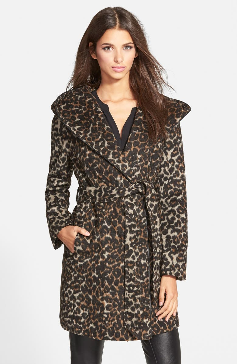 STEVE MADDEN Leopard Print Hooded Wrap Coat, Main, color, 200