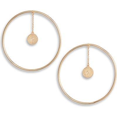 Sterling Forever Disc Coin Hoop Earrings