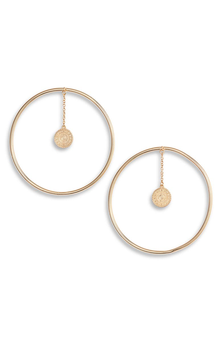 Sterling Forever Disc Coin Hoop Earrings