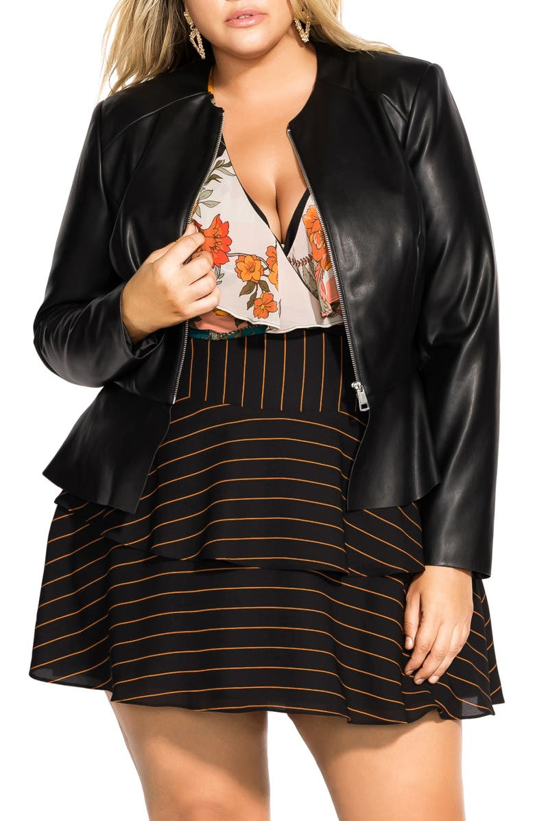 CITY CHIC Dowtown Faux Leather Peplum Jacket, Main, color, 001