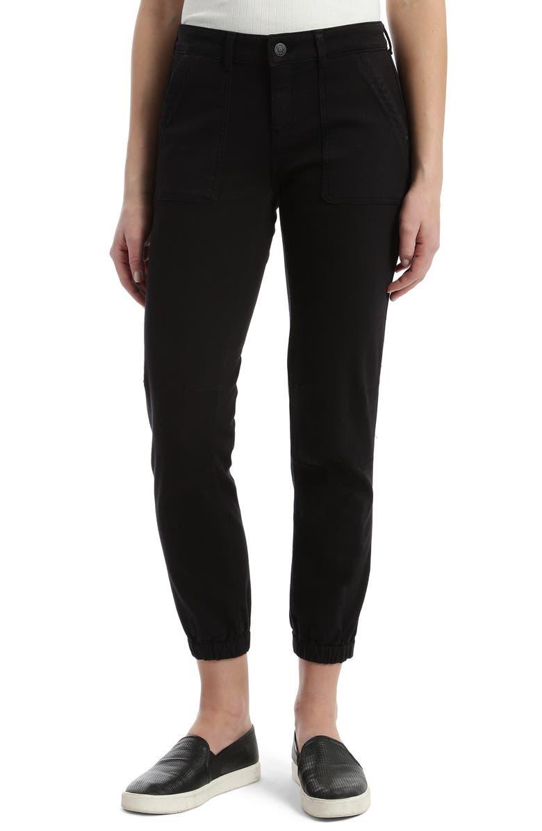 MAVI JEANS Ivy Zip Cuff Twill Jogger Pants, Main, color, BLACK TWILL