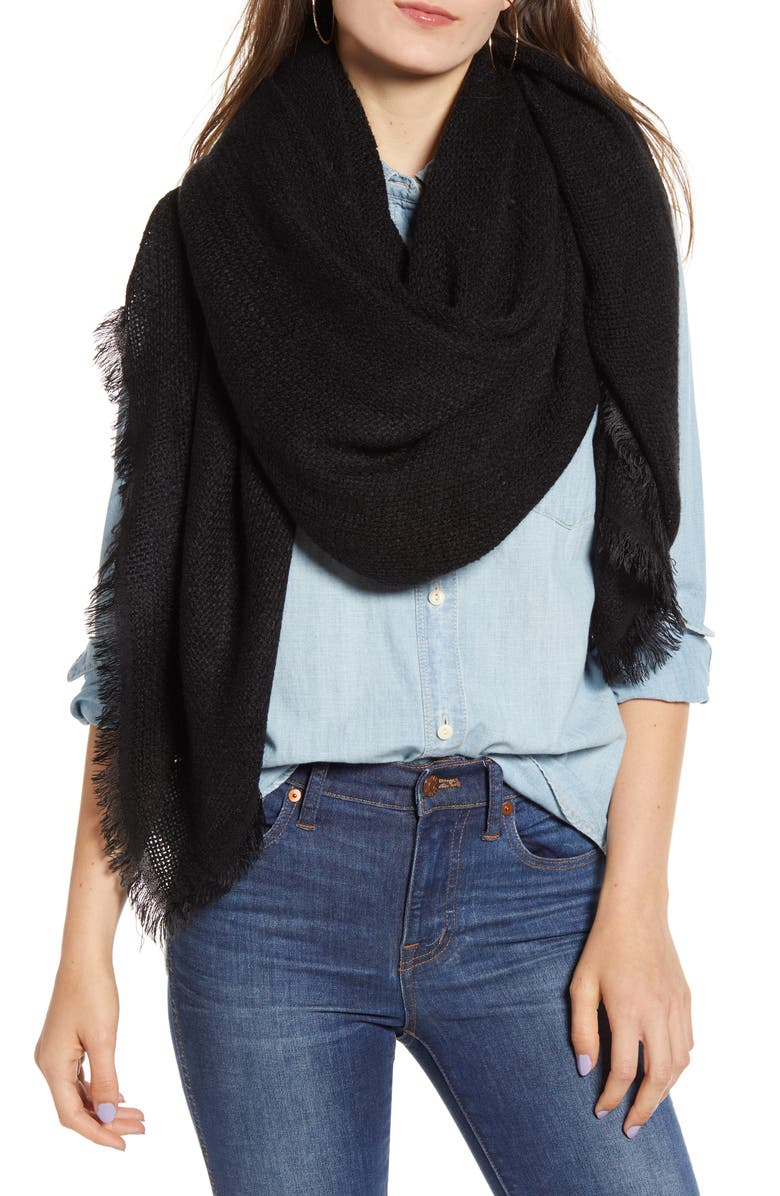 TREASURE & BOND Fringed Scarf, Main, color, BLACK