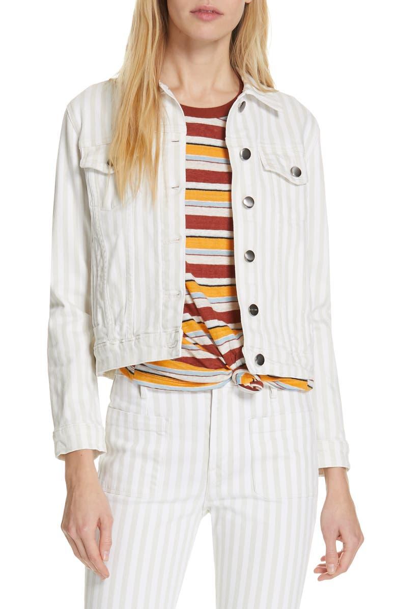 FRAME Le Vintage Stripe Crop Denim Jacket, Main, color, 120