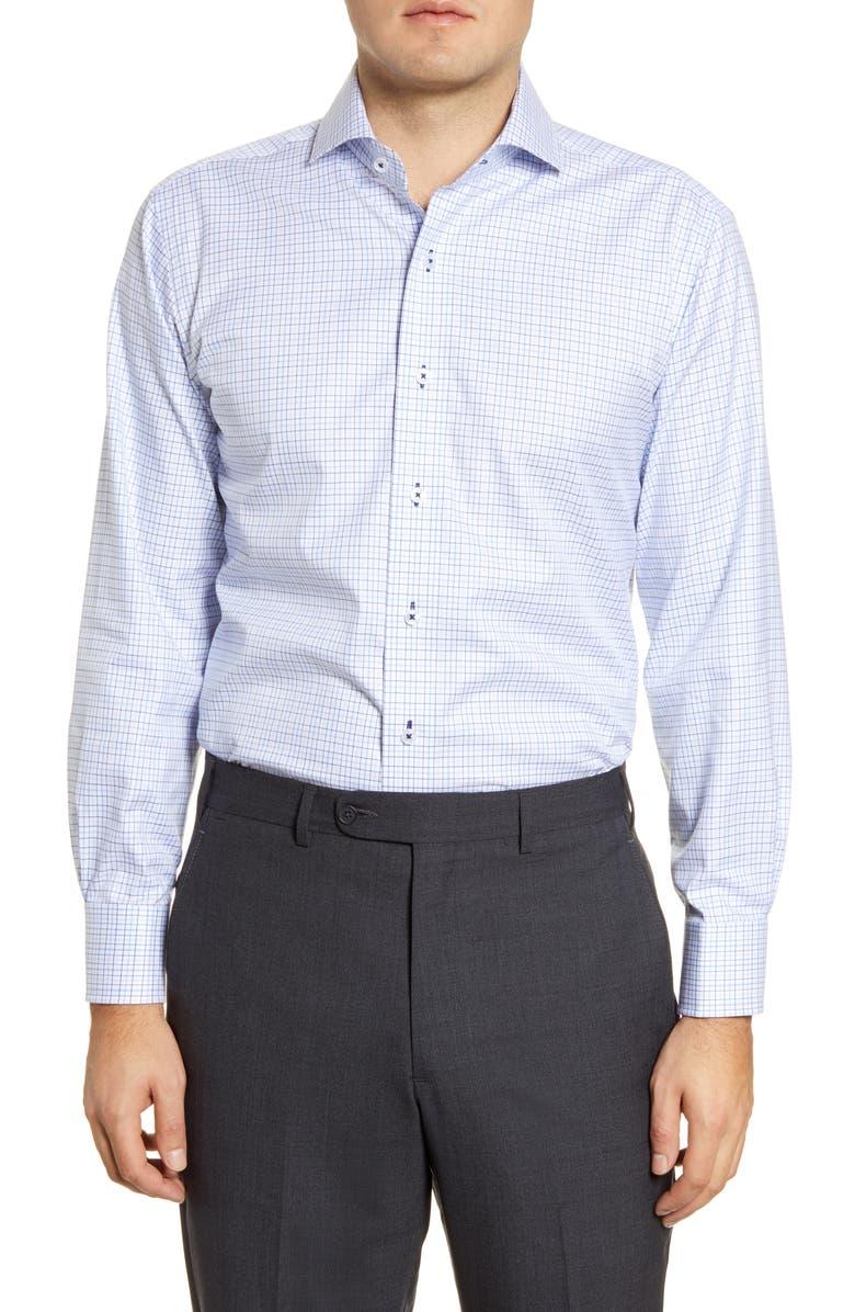 LORENZO UOMO Trim Fit Check Dress Shirt, Main, color, 100