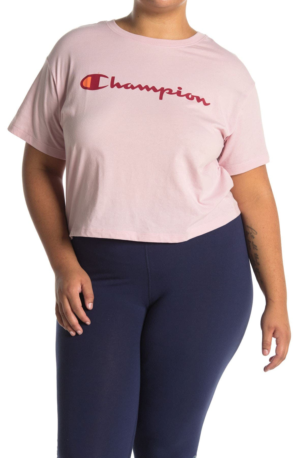 Image of Champion Logo Cropped T-Shirt