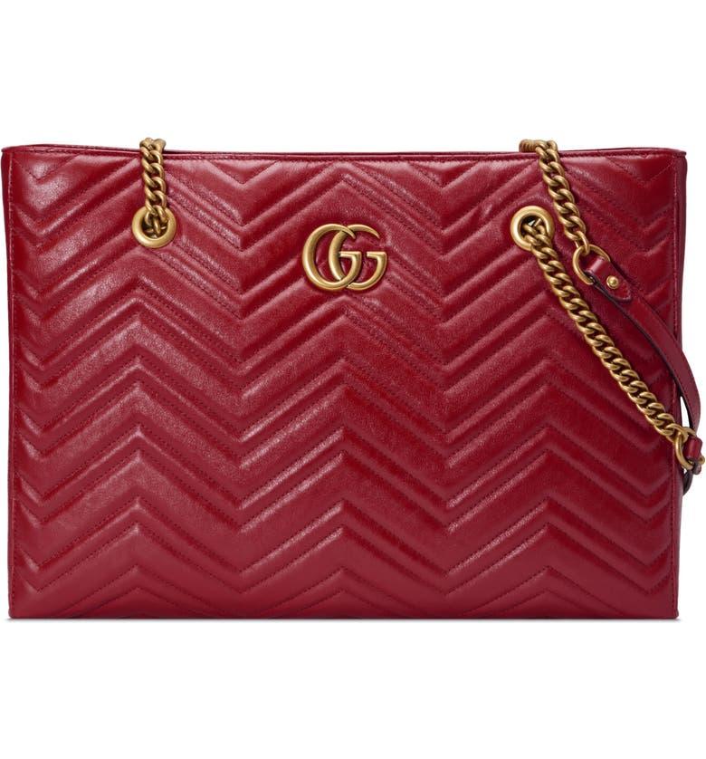 GUCCI GG Marmont 2.0 Matelassé Medium Leather East/West Tote Bag, Main, color, 607