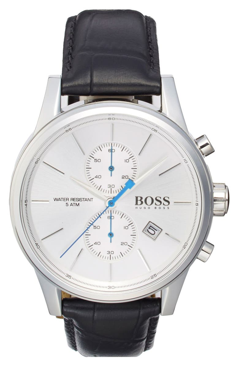 BOSS 'Jet Sport' Chronograph Leather Strap Watch, 41mm, Main, color, WHITE/ BLACK