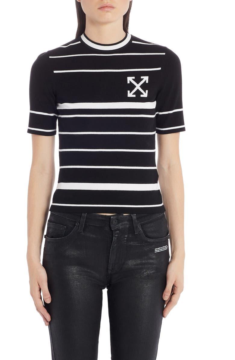 OFF-WHITE Arrow Stripe Sweater, Main, color, BLACK