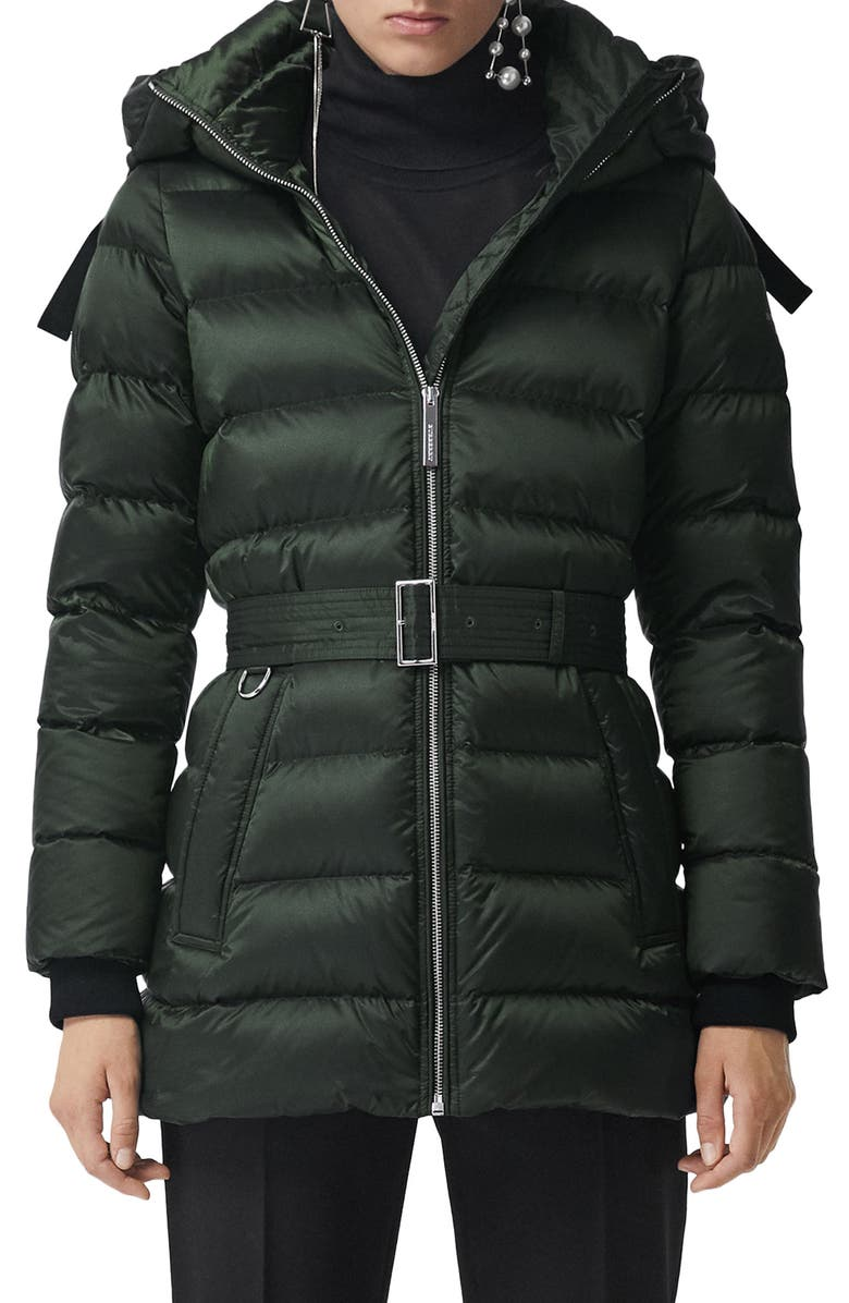 BURBERRY Limehouse Quilted Down Puffer Coat, Main, color, DARK RACING GREEN