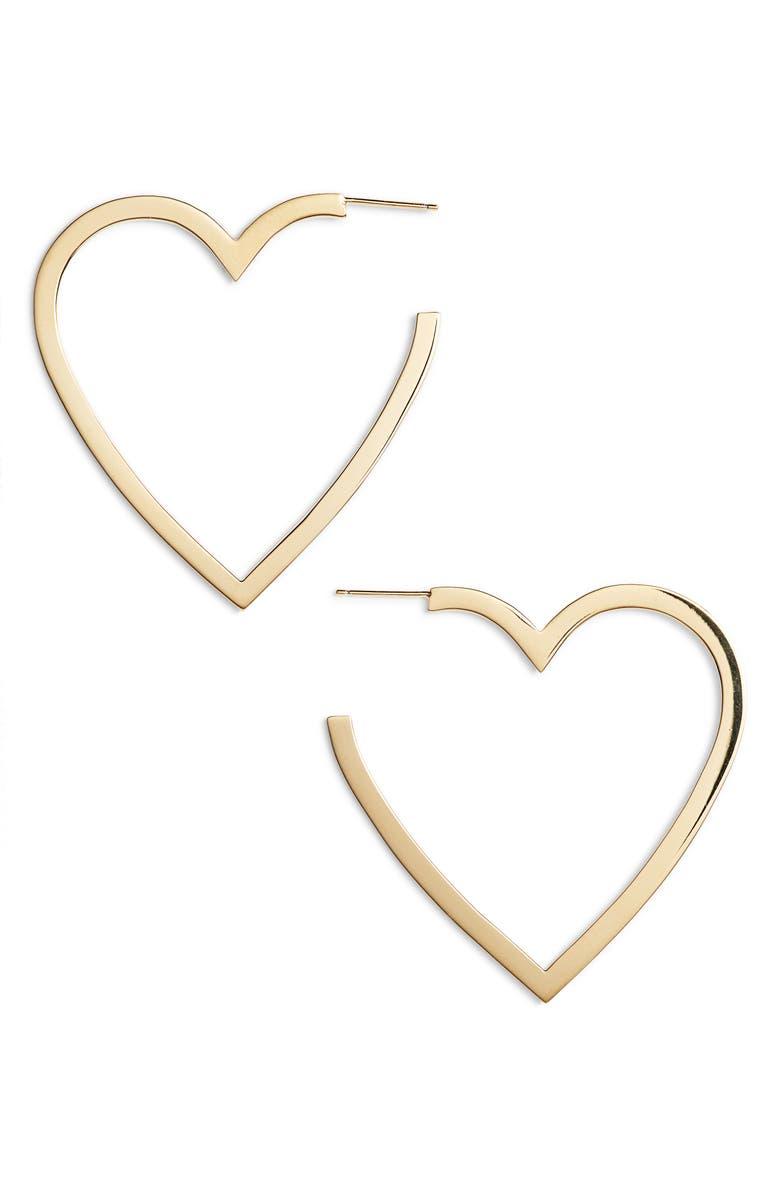 JENNIFER ZEUNER Larissa Medium Open Heart Earrings, Main, color, YELLOW VERMEIL