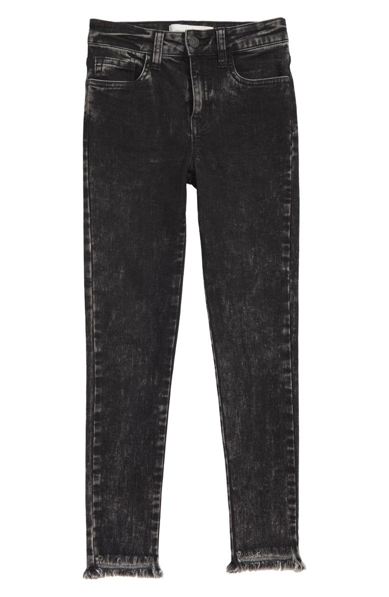 TREASURE & BOND Frayed Step Hem Jeans, Main, color, ROCK WASH