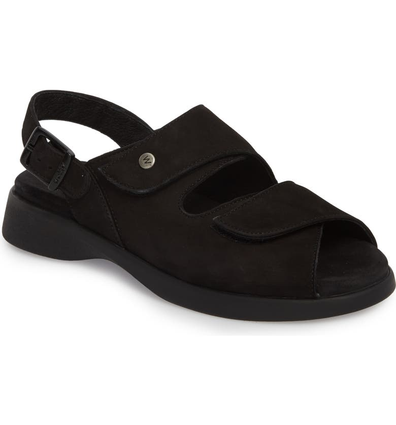 WOLKY Nimes Sandal, Main, color, BLACK NUBUCK