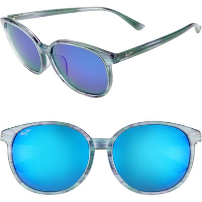 Maui Jim Water Lily 62Mm Polarizedplus2 Round Sunglasses - Aquamarine/ Blue Hawaii