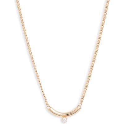 Zoe Chicco Curved Diamond Pendant Necklace