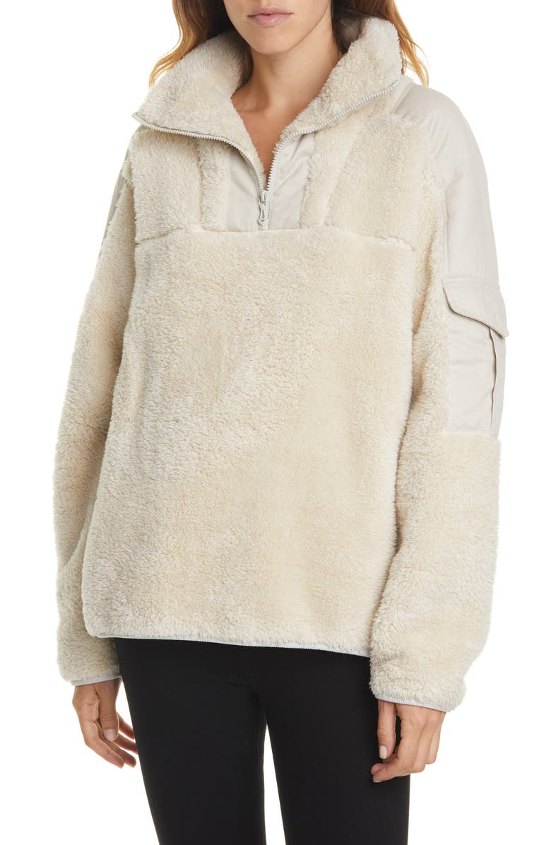 RAG & BONE Logan Recycled Polyester Fleece Pullover, Main, color, IVORY STONE