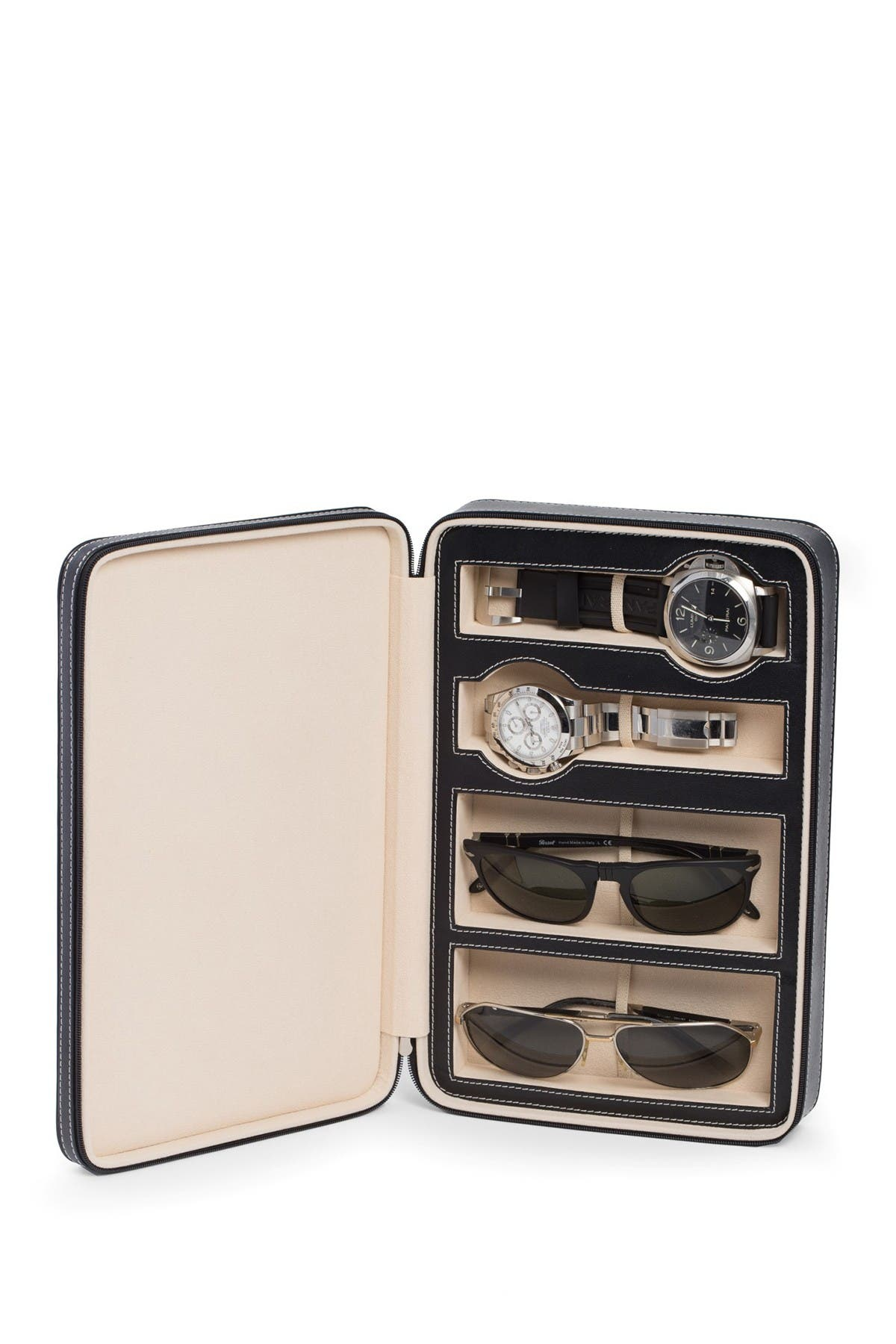 Image of Bey-Berk Black Leather Two Watch & Two Sunglass Travel Case