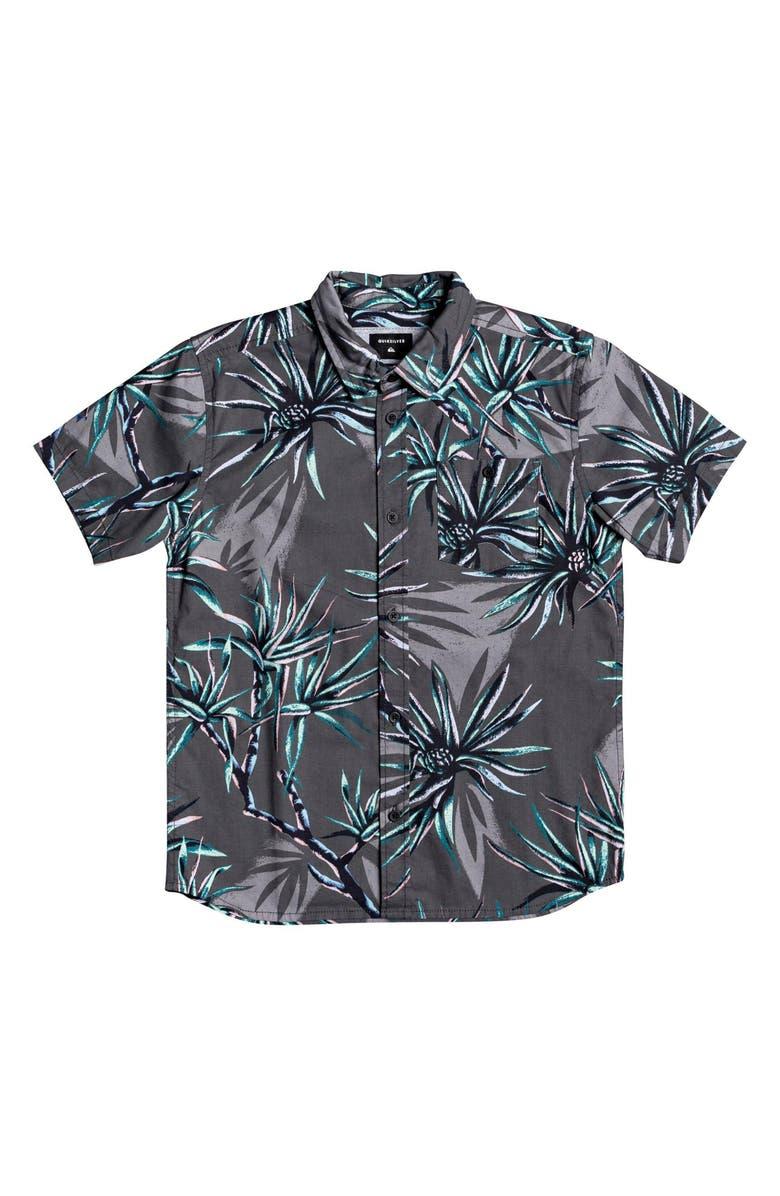 QUIKSILVER Salty Palms Button-Up Shirt, Main, color, BLACK SALTY PALM