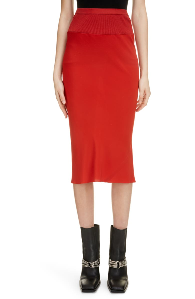 RICK OWENS Pleat Back Midi Skirt, Main, color, RED